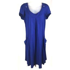 Atelier Bamboo Dress 12 L Royal Blue Pockets
